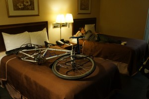 We put both beds in the motel room to good use.