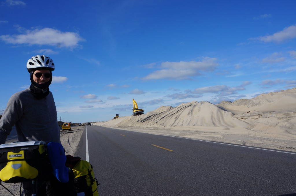 Pushing sand from the highway on the National Seashore.