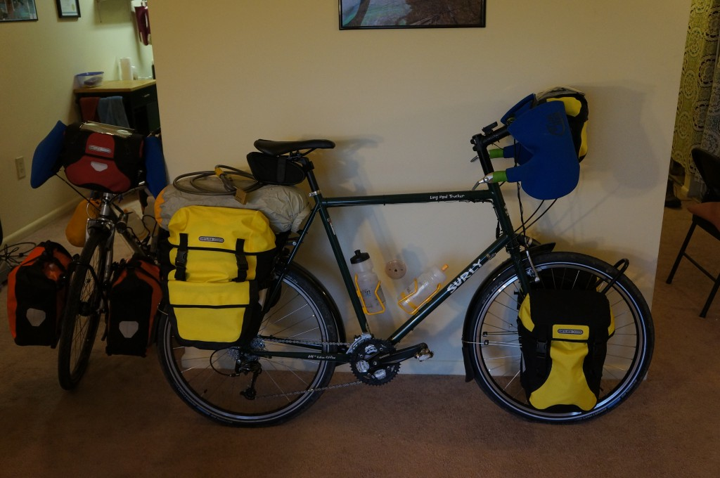 Fully loaded bike, with a tent instead of a read rack pack.