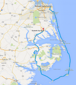 6-day Bicycle route through the Outer Banks of NC