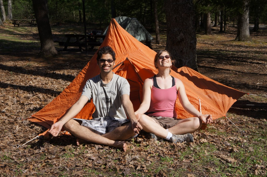 tent with meditators