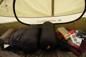 sleeping bag and pads