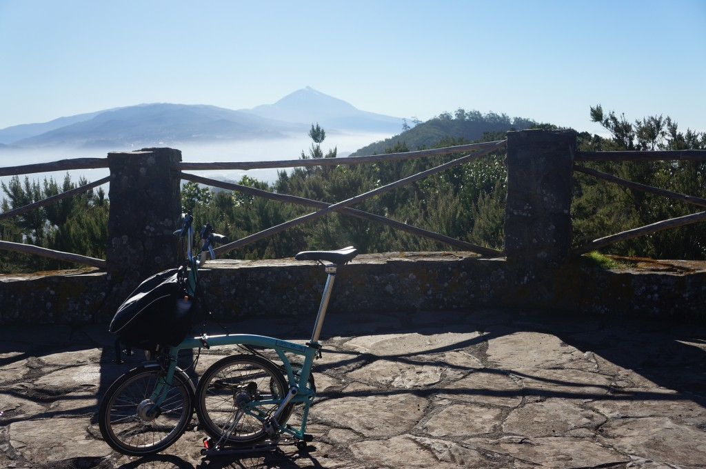 The Brompton and El Teide.  The little bike that could, as I call it, is posed in front of Spain's tallest peak.