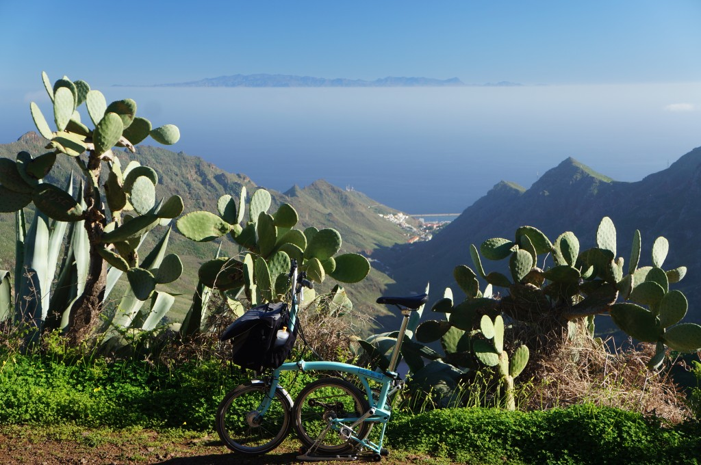 One last picture of the Brompton on Tenerife.  Gran Canaria, another island, rises above the clouds in the background.
