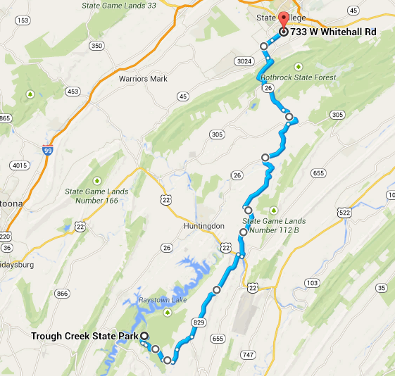 Route back home to State College (day 3). It was full of  climbing!