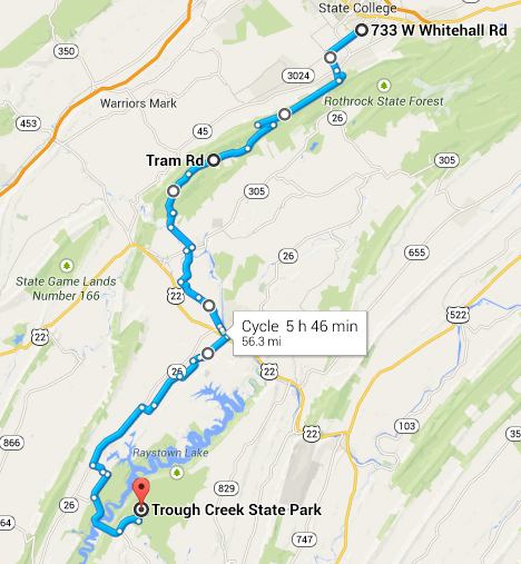 Route for day 1 and 2 of the weekend trip to Trough Creek State Park