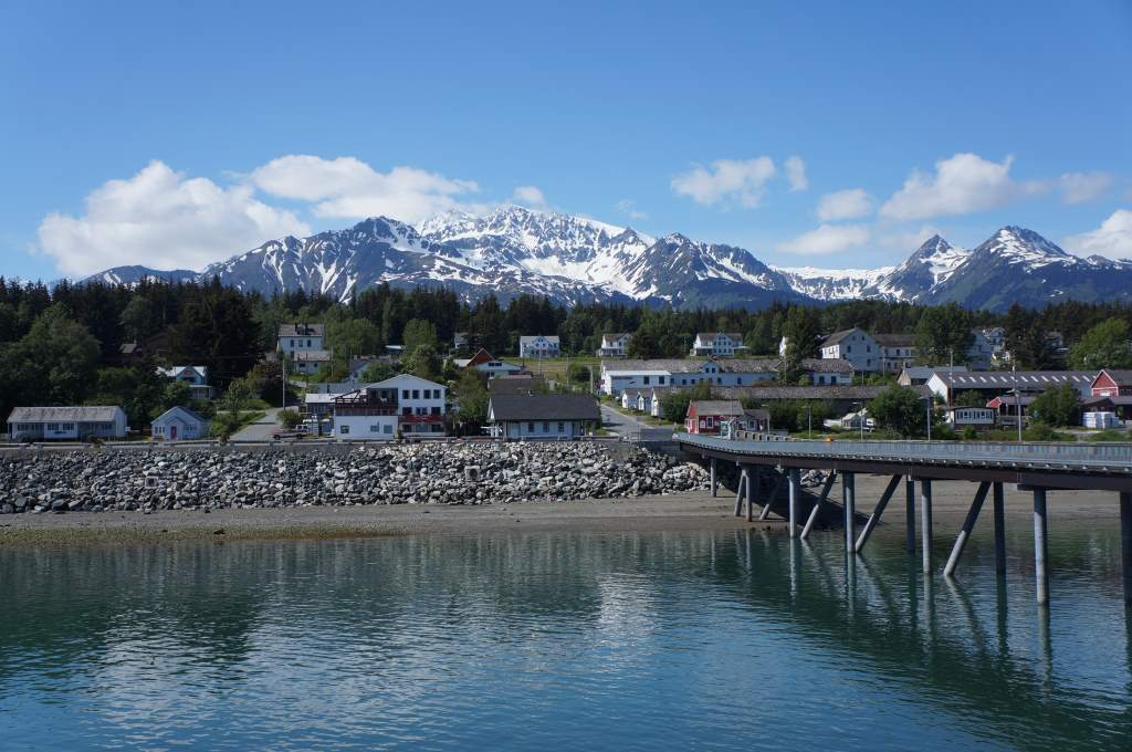 A view of Haines and the magnificent backdrop of mountains