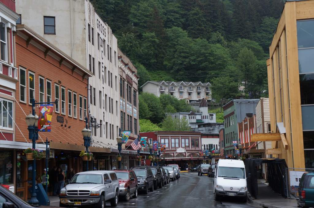 Downtown Juneau, they get four cruise ships docked here a day!