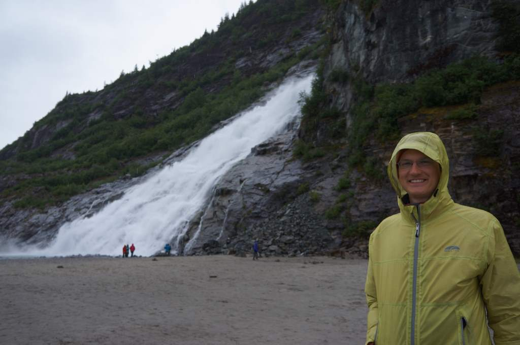 The falls next to the glacier.  Note raincoat... it was rainy!
