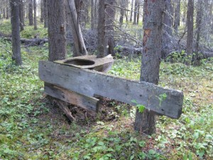 The outhouse at our wild camp... we were not interested in using it!