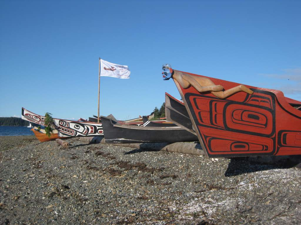 More than two dozen First Nation Canoes in Port Hardy.