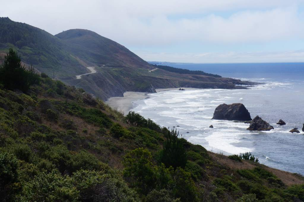 Finally, a good shot of the coast with the winding road ahead.  It's all up and down around here.