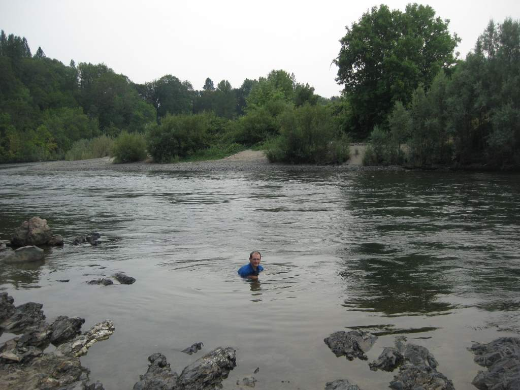 Jason swimming the Rogue River. We spent a couple hours here during one hot afternoon.