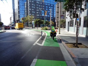 Protected bike lane in the city.