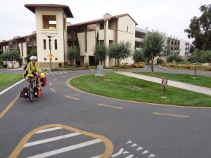 Bicycle roundabouts at UC Santa Barbara.