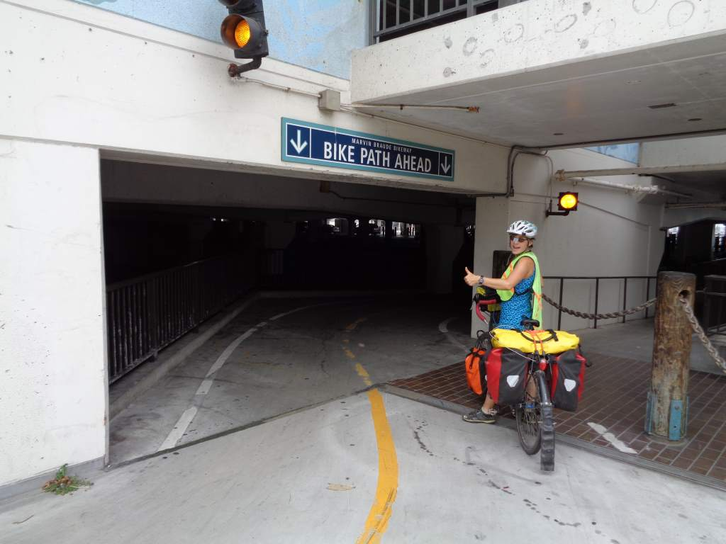 The bike path enters a hotel parking garage.