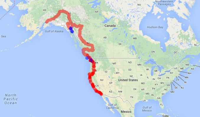 Our route from Anchorage, AK to San Diego, CA. 5500 miles and counting!