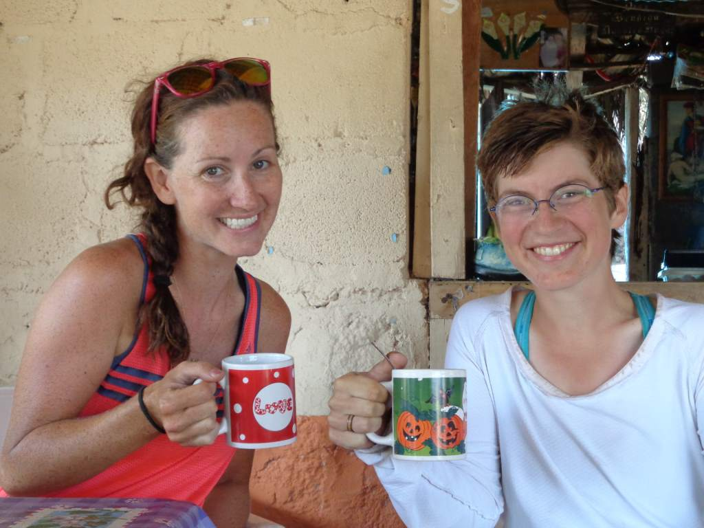 Daisy and Kate (one of our cycling friends) got coffee at a truck stop in these charming mugs.