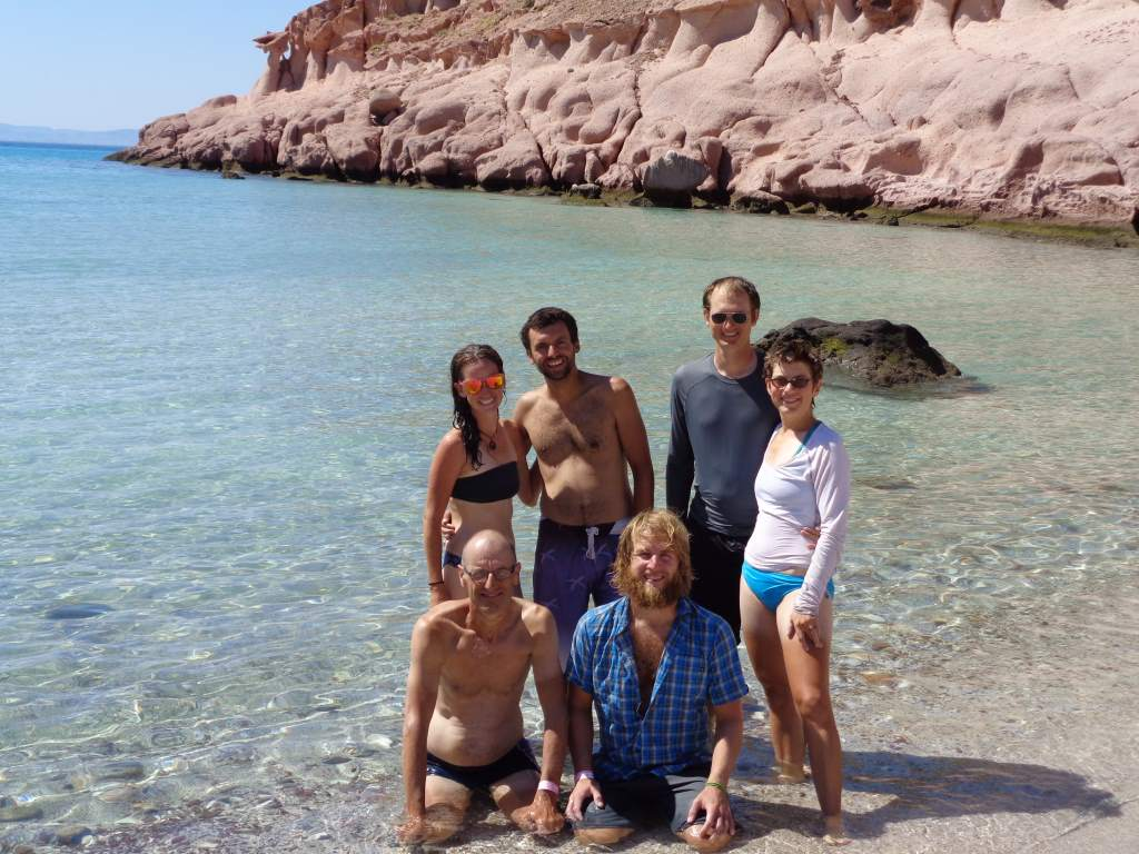 Our crew on the picture-perfect beach.