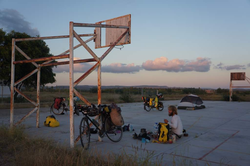 We camped near two elementary schools.  In this picture, we are set up on a basketbal court.