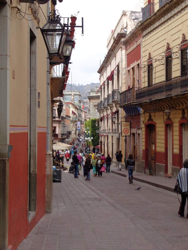 A narrow pedestrian street in Guanajuato.  These streets were almost always full!