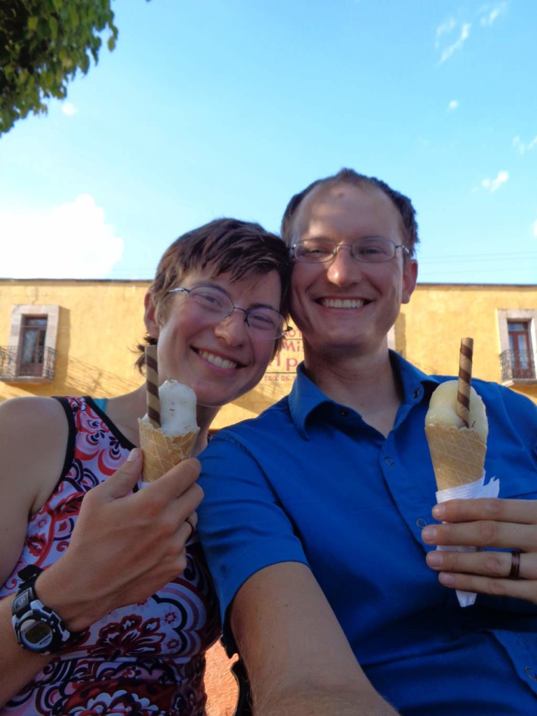 Eating fruit nieves (like water-ice) to celebrate our 1-yr wedding anniversary