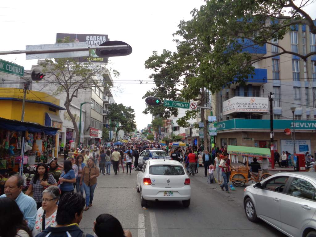 Main street turned (mostly) pedestrian during the celebration for the Virgen de Guadalupe