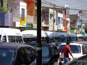 "Many ""colectivos"" lined up to take folks all over the place. For less than $1 US each, we got a 20 minute ride."