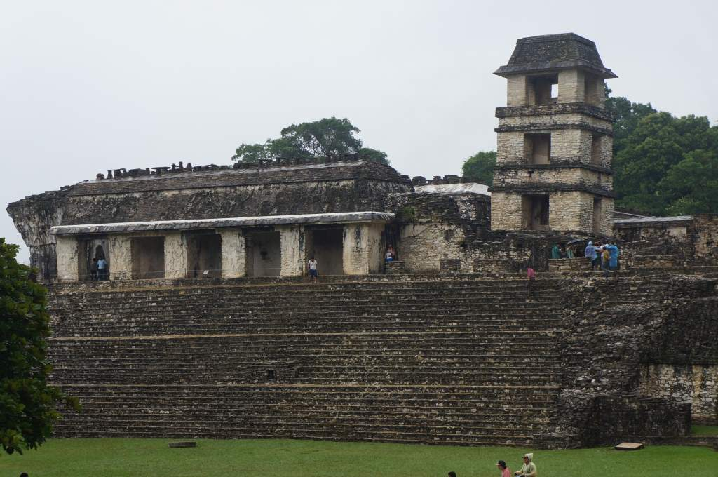 Big building and reconstructed tower at Palenque