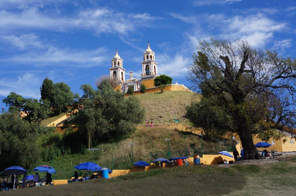 Cathedral on top of Cholula's buried pyramid