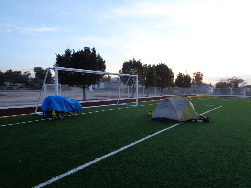 Our end-campsite fulfilled Jason's dream of sleeping on a turf soccer field