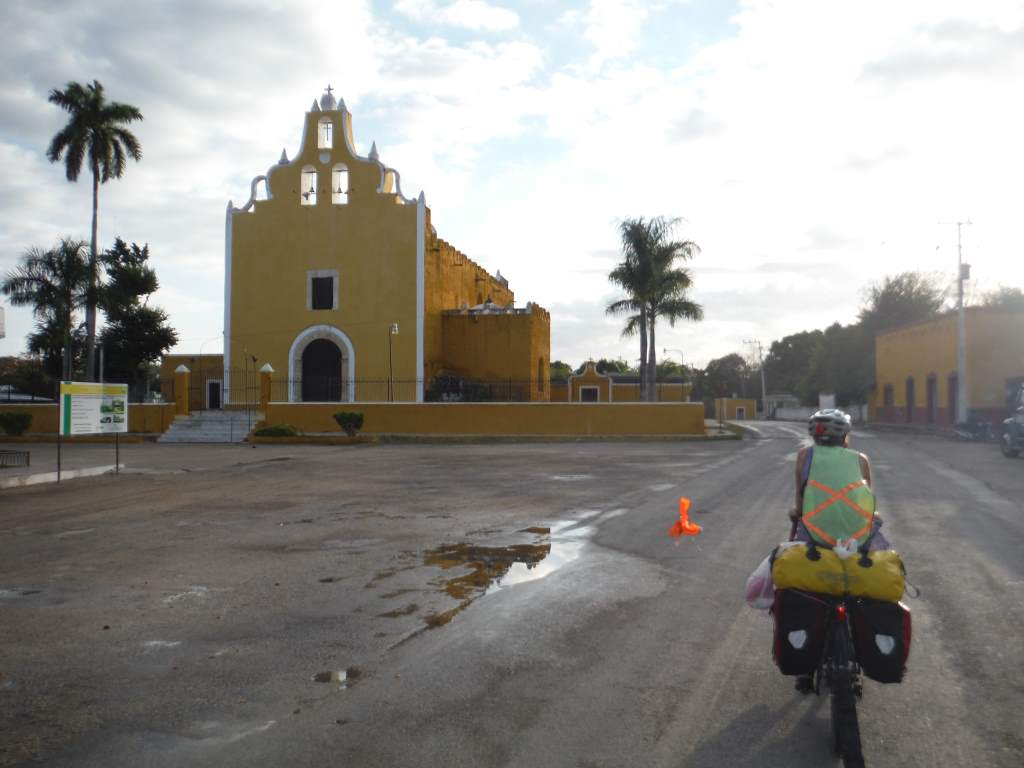 A spot of color during out ride to Cancun.  This whole city was painted a brilliant yellow.
