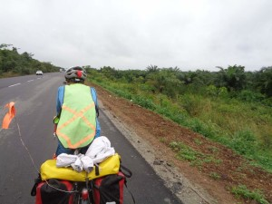 Rainy day on flat roads made it easy to ride many many miles.