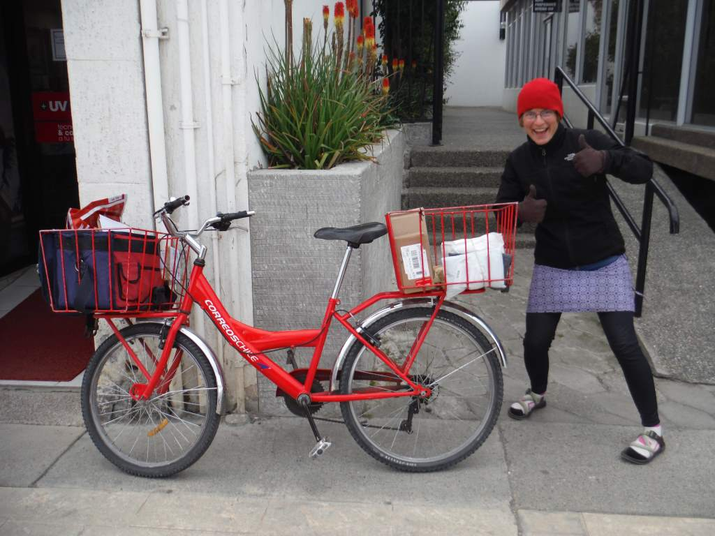 The mail is delivered by bicycle.  Now we really love this city.