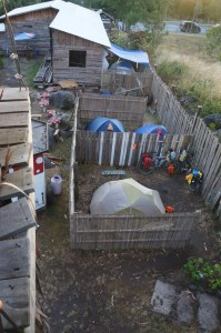 Birds-eye view of our budget campsite.