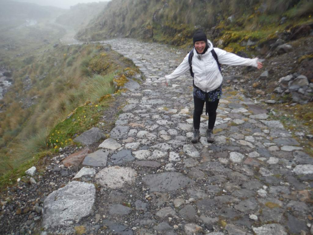 Stone-paved trail, in the Inca style