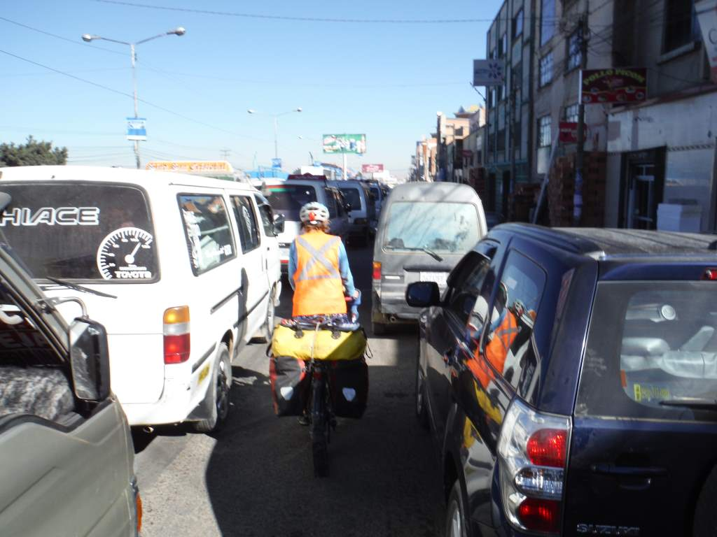 Crazy traffic in El Alto. We dodged cars, trucks, buses, and minibuses, and all the people trying to get rides or walk across the street!
