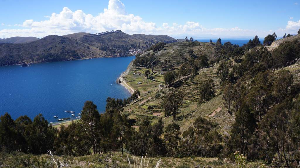 The road wound up the hills and we got great views of Lake Titicaca.