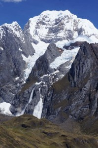 The giant avalanche looks like a white waterfall.  Can you find it?