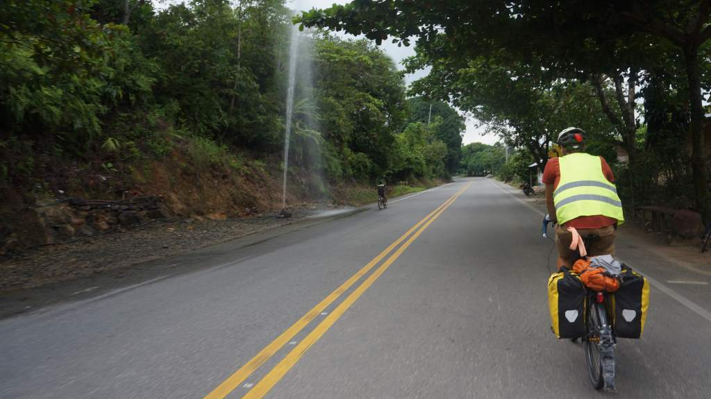 An area of the road with lots of geyser-like hoses squirting water all the time.