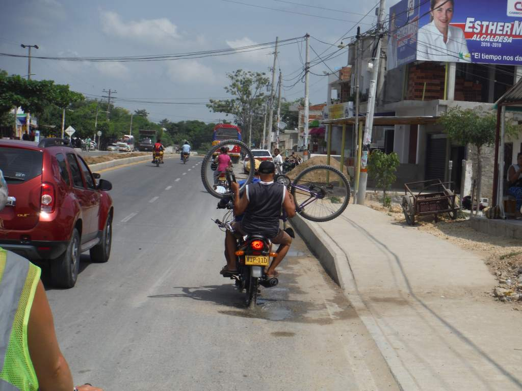 A common way to transport bicycles here